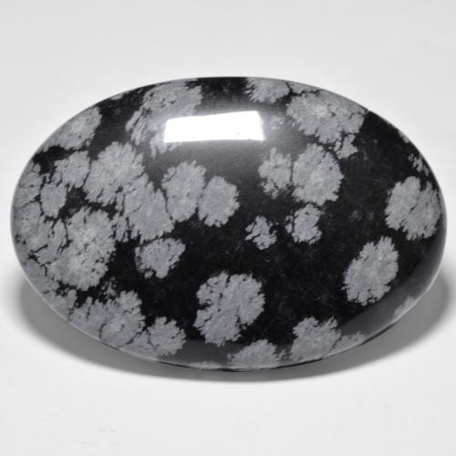 Multicolor Snowflake Obsidian Gem - 45.8ct Oval Cabochon (ID: 485631)