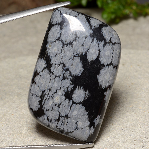 Multicolor Snowflake Obsidian Gem - 28.7ct Fancy Cabochon (ID: 485633)