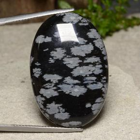 32.6ct Oval Cabochon Snowflake Snowflake Obsidian Gem (ID: 485638)