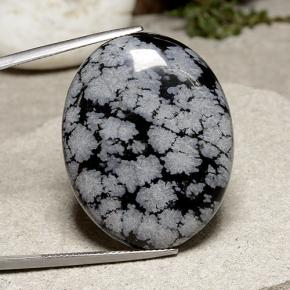 Multicolor Snowflake Obsidian Gem - 37ct Oval Cabochon (ID: 485648)