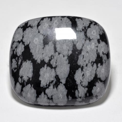 Multicolor Snowflake Obsidian Gem - 40.2ct Cushion Cabochon (ID: 485656)