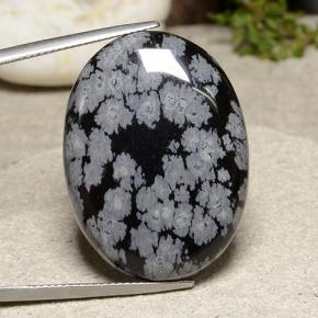Snowflake Snowflake Obsidian Gem - 32.2ct Oval Cabochon (ID: 485665)