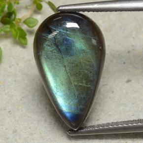 Multicolor Spectrolite Gem - 9.2ct Pear Cabochon (ID: 494239)