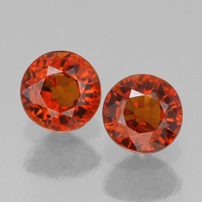 1.46 ct total Natural Red Orange Spessartite Garnet
