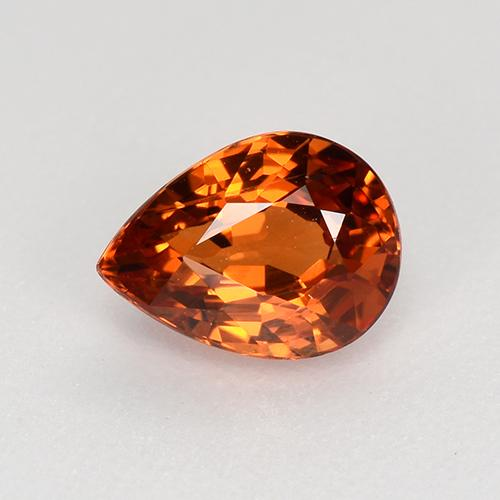 Orange Spessartite Garnet Gem - 1ct Pear Facet (ID: 368569)