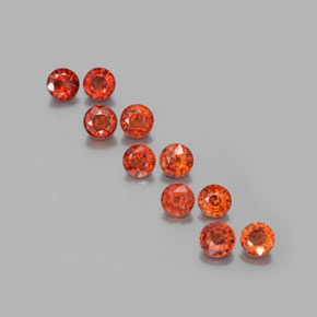 Deep Orange Red Spessartite Garnet Gem - 0.4ct Round Facet (ID: 379840)