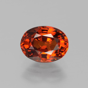 1.2ct Oval Facet Red Orange Spessartite Garnet Gem (ID: 388737)