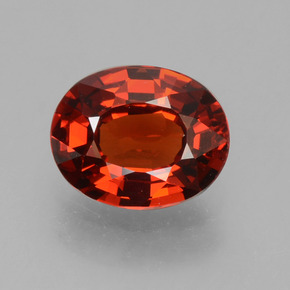 1.15 ct Oval Facet Red Orange Spessartite Garnet Gemstone 7.03 mm x 5.6 mm (Product ID: 389111)