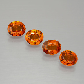 Red Orange Spessartite Garnet Gem - 0.6ct Oval Facet (ID: 390020)