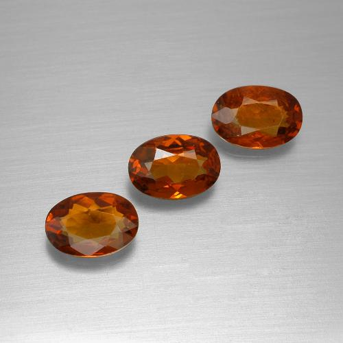 Orange Red Spessartite Garnet Gem - 0.6ct Oval Facet (ID: 395452)