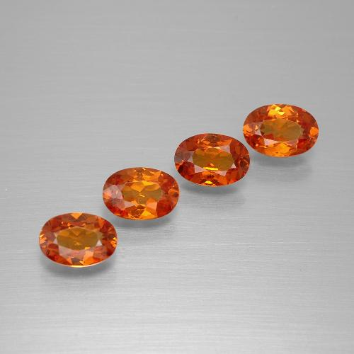Red Orange Spessartite Garnet Gem - 0.6ct Oval Facet (ID: 395459)