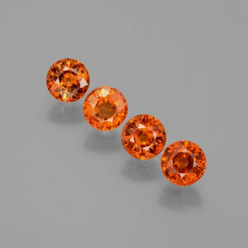 Medium Orange Granate Espesartina Gema - 0.6ct Faceta Redonda (ID: 401778)