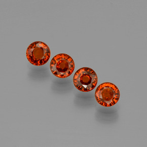 Deep Orange Red Spessartite Garnet Gem - 0.5ct Round Facet (ID: 401856)