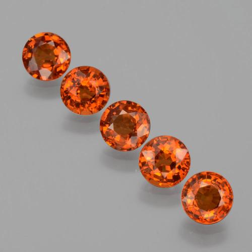 Orange Spessartite Garnet Gem - 0.8ct Round Facet (ID: 401929)