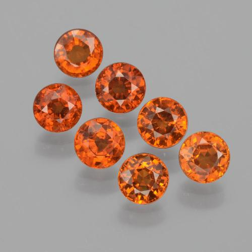 Medium Orange Granate Espesartina Gema - 0.5ct Faceta Redonda (ID: 401934)