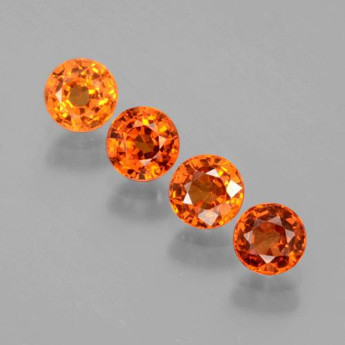 Medium Orange Granate Espesartina Gema - 0.5ct Faceta Redonda (ID: 402380)
