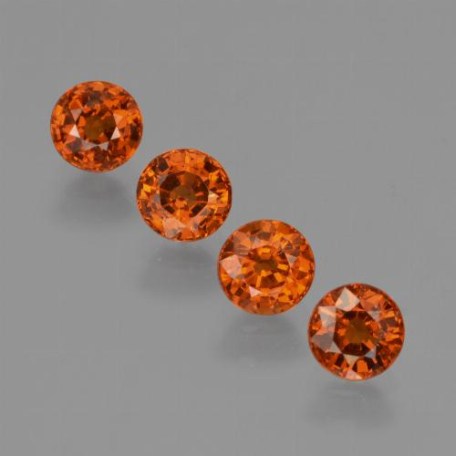 Orange Spessartite Garnet Gem - 0.7ct Round Facet (ID: 417584)