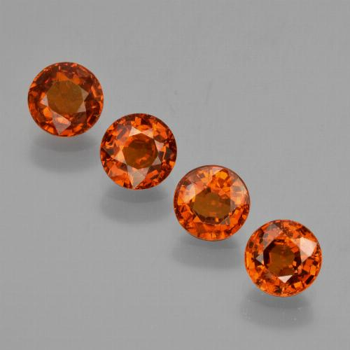 Deep Orange Red Spessartite Garnet Gem - 0.7ct Round Facet (ID: 417589)