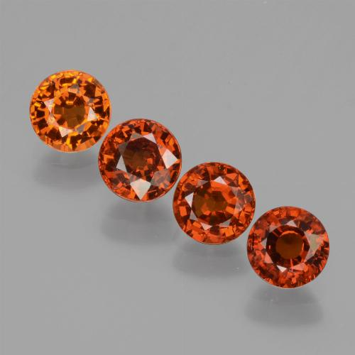 Orange Spessartite Garnet Gem - 0.8ct Round Facet (ID: 436342)