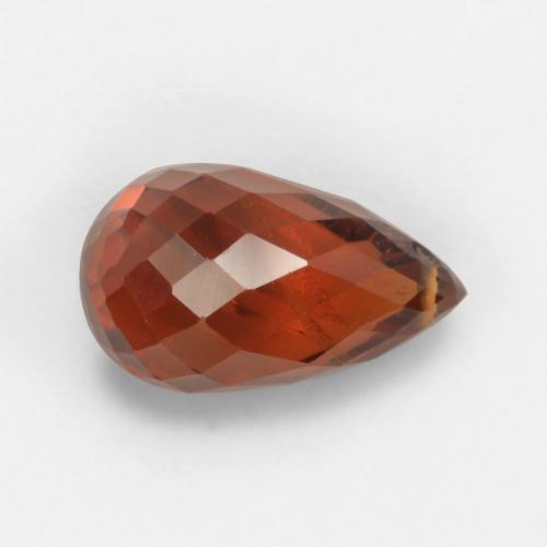Dark Orange Red Granate Espesartina Gema - 2.8ct Corte Briolette con Agujero (ID: 536842)