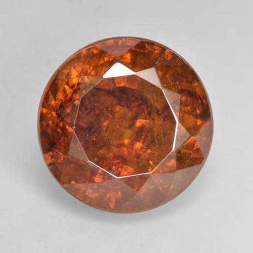 11.33 ct Round Facet Red Orange Sphalerite Gemstone 12.75 mm  (Product ID: 219374)