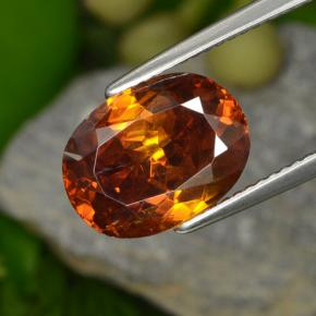 thumb image of 6.8ct Oval Facet Reddish Orange Sphalerite (ID: 466291)
