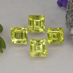 Yellowish Green Sphene Gem - 0.4ct Square Facet (ID: 261565)