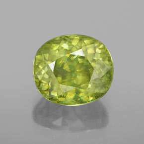 3.40 ct Oval Facet Yellowish Green Sphene Gemstone 9.43 mm x 8.3 mm (Product ID: 353270)