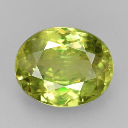 3.72 ct Oval Facet Yellowish Green Sphene Gemstone 10.58 mm x 8.6 mm (Product ID: 381976)