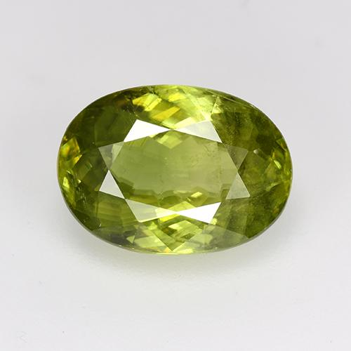 Warm Forest Green Sphene Gem - 3.8ct Oval Facet (ID: 381977)