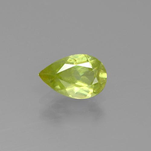 Golden Green Sphene Gem - 1.3ct Pear Facet (ID: 390429)