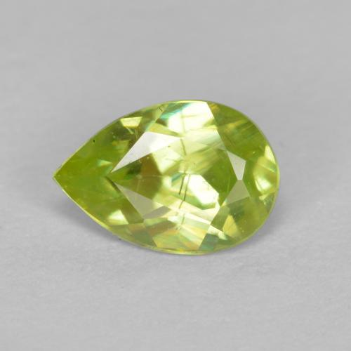 Yellowish Green Sphene Gem - 0.6ct Pear Facet (ID: 390434)