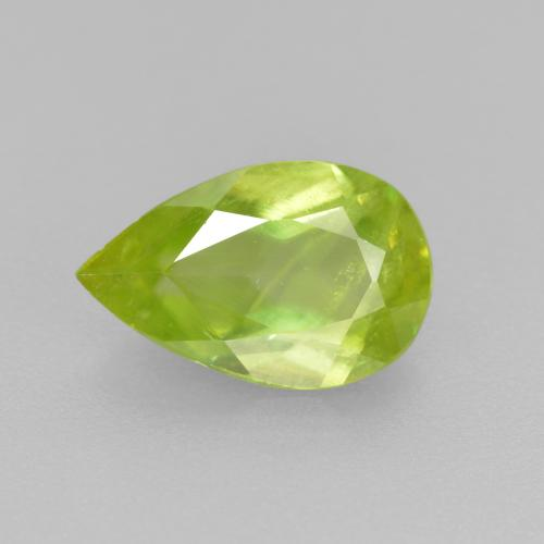 Golden Green Sphene Gem - 1.2ct Pear Facet (ID: 390451)