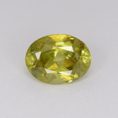 1.80 ct Oval Facet Greenish Golden Sphene Gemstone 8.69 mm x 6.6 mm (Product ID: 390822)