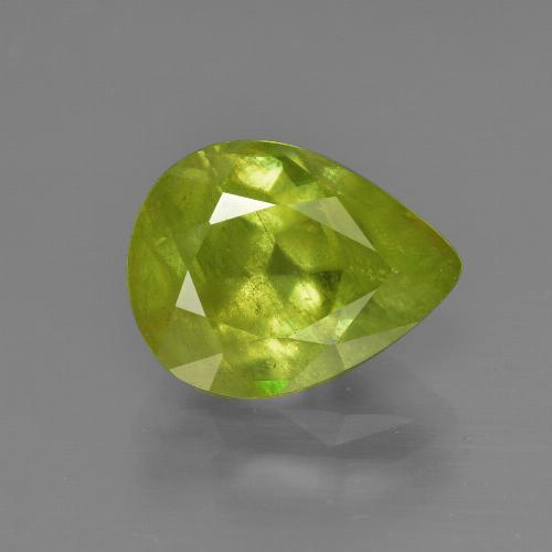 3.09 ct Pear Facet Golden Green Sphene Gemstone 10.53 mm x 8.1 mm (Product ID: 413839)