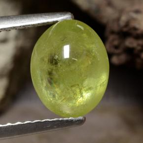 Golden Green Sphene Gem - 2.9ct Oval Cabochon (ID: 470853)