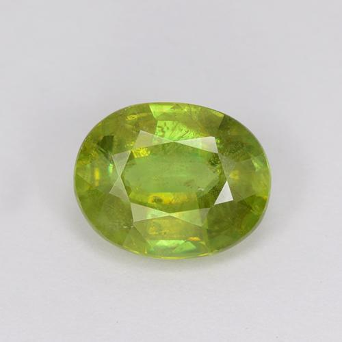 1.23 ct Oval Facet Golden Green Sphene Gemstone 7.51 mm x 6 mm (Product ID: 510635)