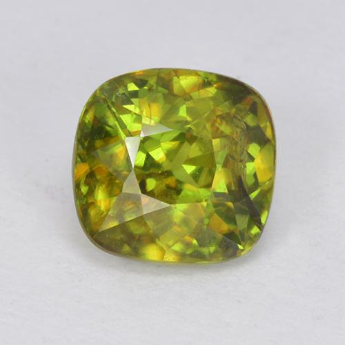 Medium-Dark Green Sphene Gem - 1ct Cushion-Cut (ID: 513427)