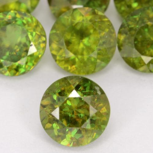 Yellowish Green Sphene Gem - 0.6ct Round Facet (ID: 541263)