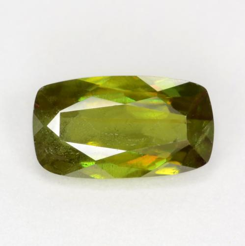 Medium-Dark Green Esfena Gema - 0.8ct Corte en Forma Cojín (ID: 545142)