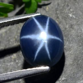 Navy Blue Star Sapphire Gem - 3.2ct Oval Cabochon (ID: 478882)