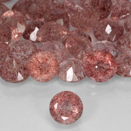 Red Strawberry Quartz Gem - 0.8ct Round Facet (ID: 503407)