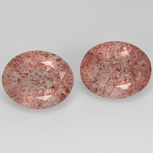 Red Strawberry Quartz Gem - 3.1ct Oval Facet (ID: 514079)
