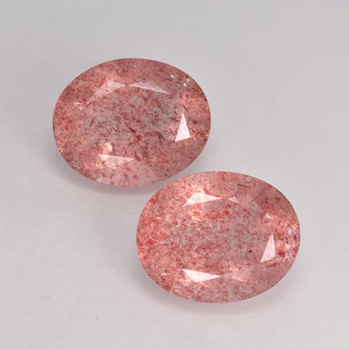 Medium-Light Pink Strawberry Quartz Gem - 3.3ct Oval Facet (ID: 526440)