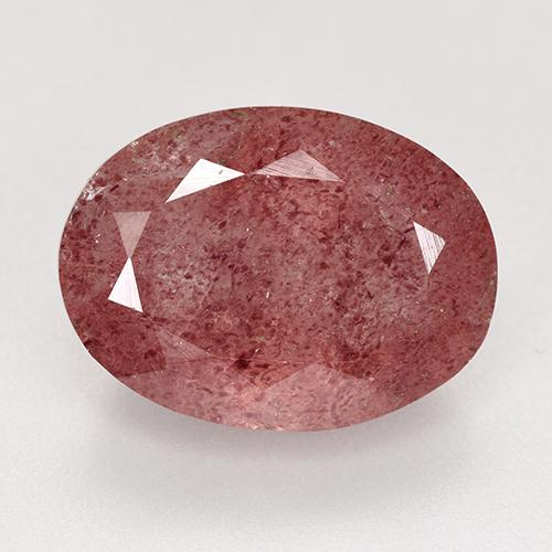 Deep Rose Pink Strawberry Quartz Gem - 9.2ct Oval Facet (ID: 527532)