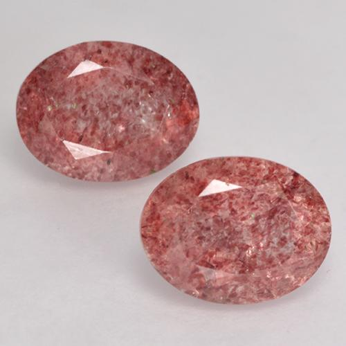 Red Strawberry Quartz Gem - 1.8ct Oval Facet (ID: 528145)