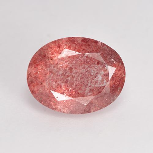 Purplish Cherry Red Cuarzo Fresa Gema - 1.6ct Forma ovalada (ID: 529271)