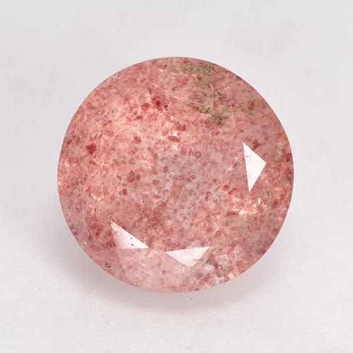 Medium-Light Pink Strawberry Quartz Gem - 4ct Round Facet (ID: 532521)