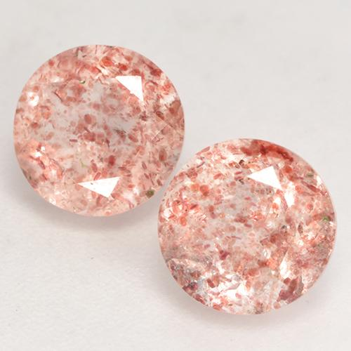 Earthy Pink Strawberry Quartz Gem - 1.3ct Round Facet (ID: 532549)