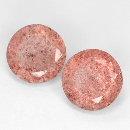 Medium Pink Strawberry Quartz Gem - 2.4ct Round Facet (ID: 545033)